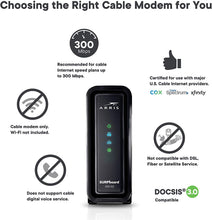Load image into Gallery viewer, ARRIS SURFboard (16x4) DOCSIS 3.0 Cable Modem, approved for Cox, Spectrum, Xfinity & more (SB6183 Black)