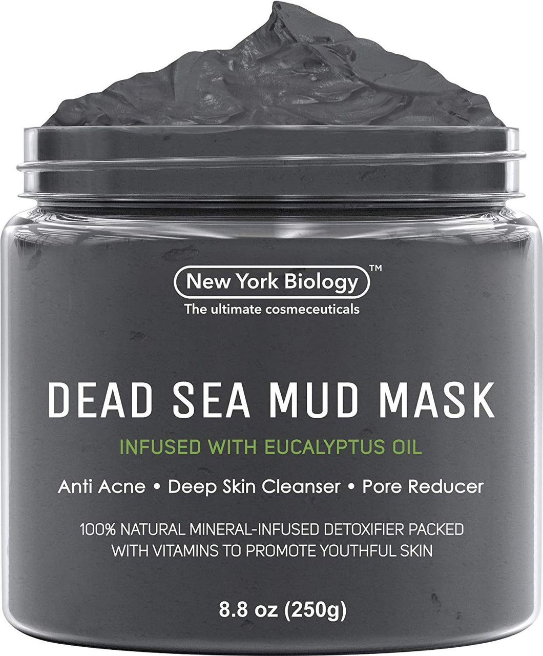 Dead Sea Mud Mask Infused with Eucalyptus - 100% Natural Spa Quality - Best Pore Reducer & Minimizer to Help Treat Acne, Blackheads & Oily Skin – Tightens Skin for a Visibly Healthier, Clearer, Smo