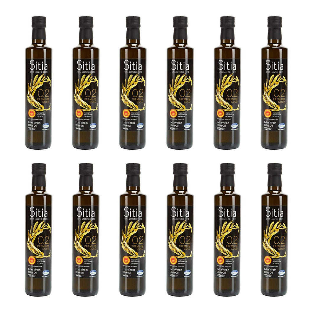 Premium Gold Sitia Olive Oil [12pk of 16.9oz/500mL] Cold Pressed, Kosher, Unblended, Low Acidity and High in Polyphenols and Antioxidants, ideal for Keto Diets