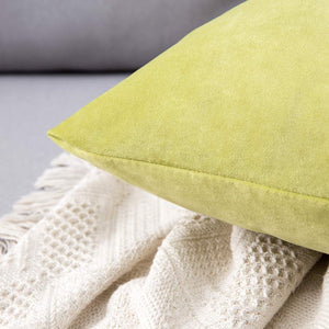 MIULEE Pack of 2 Velvet Pillow Covers Decorative Square Pillowcase Soft Solid Cushion Case for Sofa Bedroom Car 26 x 26 Inch Chartreuse Green