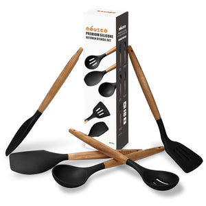 Miusco Silicone Cooking Utensils Set with Natural Acacia Hard Wood Handle, Black, 5 Piece