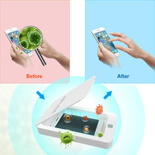 Load image into Gallery viewer, UV Smart Phone Sanitizer,Portable Cell Phone Sterilizer,Aromatherapy Function Disinfector,Phone Cleaner Box with USB Charging for iOS Android Mobile Phone Toothbrush Jewelry Watches-White