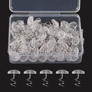 KUUQA 100 Pieces Upholstery Twist Pins Clear Heads Bed Skirt Pins for Slipcovers and Bedskirts