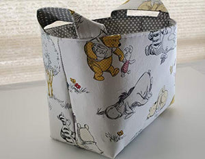 FreeFromWork Fabric Organizer Basket Bin Caddy Storage Container - Winnie the Pooh Eeyore Piglet on White Small gray white