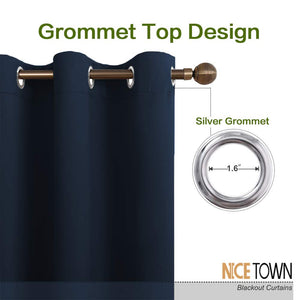 NICETOWN Blackout Draperies Curtains, All Season Thermal Insulated Solid Grommet Top Blackout Curtains/Drapes for Kid's Room (Navy, 1 Pair, 34 x 45 inches)