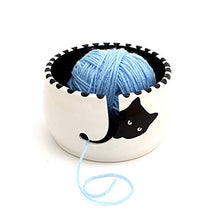 Load image into Gallery viewer, Cat Yarn Bowl, Black Cat Peeping, Lennymud by Lorrie Veasey White, Black