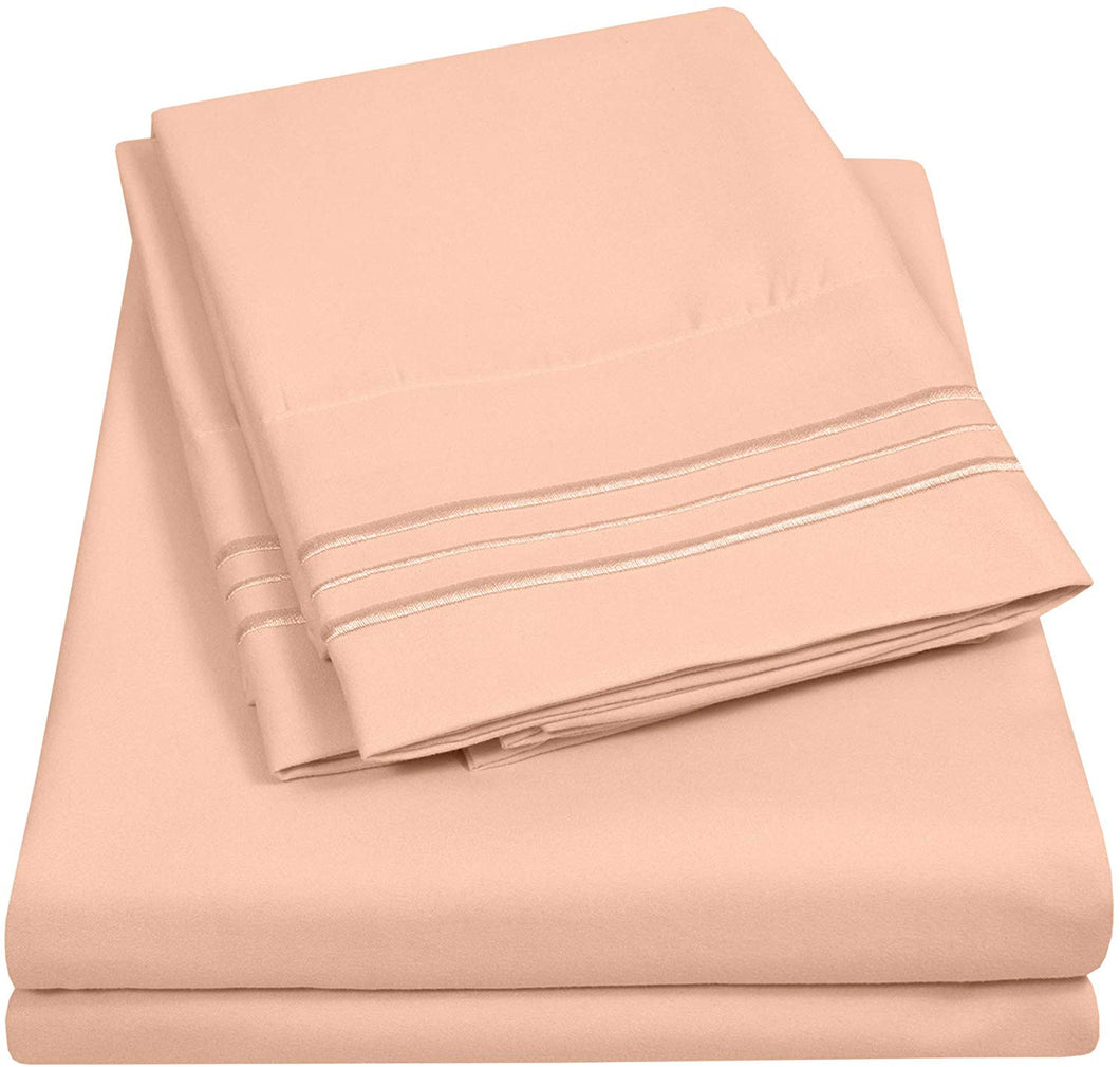 1500 Supreme Collection Extra Soft Twin Sheet Set, Peach - Luxury Bed Sheet Set with Deep Pocket Wrinkle Free Hypoallergenic Bed Sheets, Twin Size, Peach