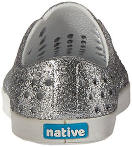 Native Shoes Native Kids Girls' Jefferson Bling Child-K Slip-On,Silver Bling Glitter/Shell White,C4 M US Toddler Jefferson Bling Child - K 4 Toddler