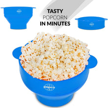 Load image into Gallery viewer, The Original Popco Silicone Microwave Popcorn Popper with Handles, Silicone Popcorn Maker, Collapsible Bowl Bpa Free and Dishwasher Safe - 10 Colors Available (Light Blue)