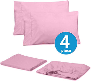 Sweet Home Collection 6PC-SHT-T-PNK 6 Piece 1500 Thread Count Egyptian Quality Deep Pocket Bed Sheet Set-2 EXTRA PILLOW CASES, VALUE- Twin, Pink, 4