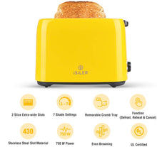 Load image into Gallery viewer, iSiLER 2 Slice Toaster, 1.3 Inches Wide Slot Toaster with 7 Shade Settings and Double Side Baking, Compact Bread Toaster with Removable Crumb Tray, UL Certified, Defrost Reheat Cancel Function