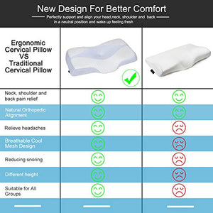 HOMCA Contour Memory Foam Pillow - Ergonomic Cervical Pillow for Neck Shoulder Pain Relief, Orthopedic Sleeping Pillow for Side Sleepers, Back and Stomach Sleepers, Standard Size White