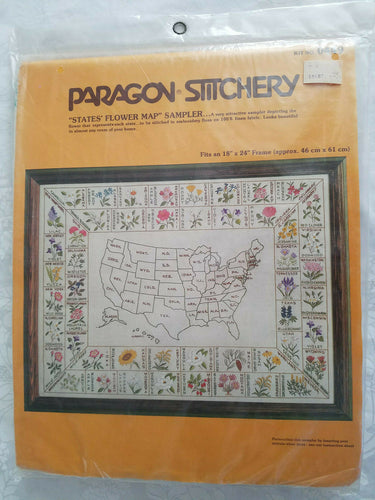 Rare PARAGON STITCHERY U.S. States Flower Map 1980 Embroidery Sampler Kit #0449