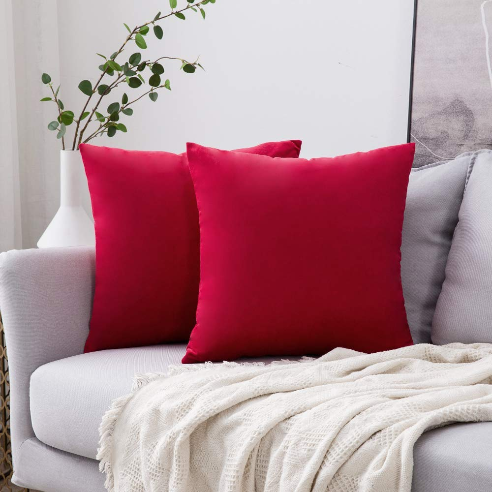 MIULEE Pack of 2 Velvet Pillow Covers Decorative Square Pillowcase Soft Solid Cushion Case for Sofa Bedroom Car 22 x 22 Inch Red