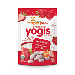 Happy Family Happy Baby Organic Yogis Freeze-Dried Yogurt & Fruit Snacks, Variety Pack, 6 Count (2 of Each Flavor) VARHY-6 Pack of 6