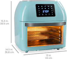 Load image into Gallery viewer, Best Choice Products 16.9qt 1800W 10-in-1 XXXL Family Size Air Fryer Countertop Oven, Rotisserie, Toaster, Dehydrator w/Digital LED Display, 12 Accessories, 9 Recipes - Blue