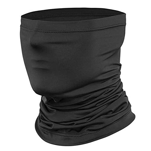 Jjyee Neck Gaiter Balaclava Bandana Headwear, Ice Silk Cooling Sports Face Scarf for Dust Outdoors (Classic Black) Medium