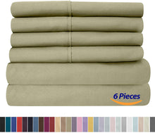Load image into Gallery viewer, Full Size Bed Sheets - 6 Piece 1500 Thread Count Fine Brushed Microfiber Deep Pocket Full Sheet Set Bedding - 2 Extra Pillow Cases, Great Value, Full, Sage
