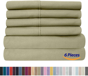 Full Size Bed Sheets - 6 Piece 1500 Thread Count Fine Brushed Microfiber Deep Pocket Full Sheet Set Bedding - 2 Extra Pillow Cases, Great Value, Full, Sage
