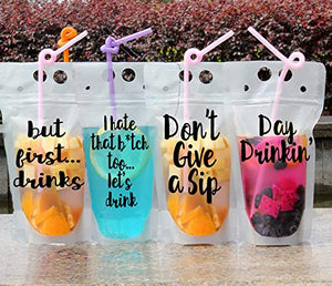 Noah's Boytique Reusable Drink Pouches with Funny Sayings Drink Bags with Straw