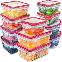 Load image into Gallery viewer, Fullstar (11 Pack) Food Storage Containers with Lids - Red Plastic Food Containers with Lids - Plastic Containers with Lids - Airtight Leak Proof Easy Snap Lock and BPA-Free Plastic Container Set