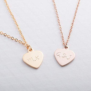 Petite Boutique Necklace Dainty Initial Heart Gold Silver Rose Gold Personalized Hand Stamp Initial Necklace Bridesmaid Birthday Anniversary Christmas Gift Best Graduation Day gift