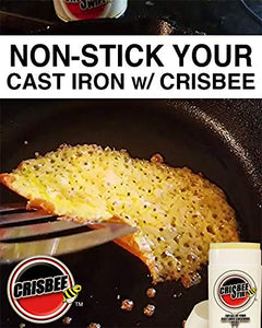 Crisbee Puck Original Cast Iron Seasoning - Family Made in USA - The Cast Iron Seasoning Oil & Conditioner Preferred by Experts Crisbee Puck Tin Original 6.5 oz Silver