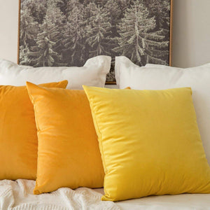 MIULEE Pack of 2 Velvet Pillow Covers Decorative Square Pillowcase Soft Soild Orange Yellow Cushion Case for Sofa Bedroom Car 22 x 22 Inch 55 x 55 cm