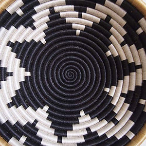 Amsha African Basket- Chwele/Rwanda Basket/Woven Bowl/Sisal & Sweetgrass Basket/Black, White, Tan Large