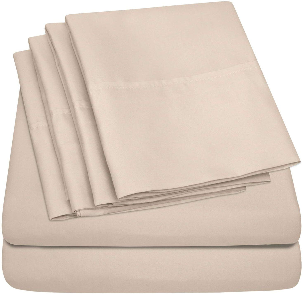 Sweet Home Collection Bed 6 Piece 1500 Thread Count Deep Pocket Sheet Set - 2 EXTRA PILLOW CASES, VALUE, Queen, Beige