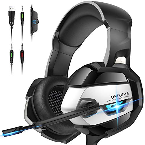 ONIKUMA PS4 Headset -Xbox One Headset Gaming Headset Noise Canceling Gaming Headphones with Mic & LED Light for PS4,Playstation,Xbox One(Adapter Not Included) K5-N Medium Black