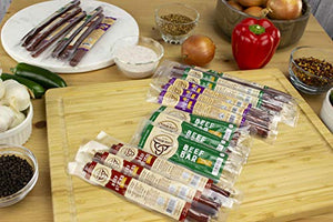 Keto Sugar Free Sampler Pack Grass Fed Beef Sticks & Bars Healthy Free Range Turkey Sticks Gluten MSG Nitrate & Nitrite Free Paleo Friendly Snacks Mission Meats 12 Count