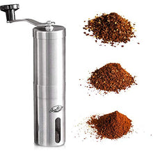 Load image into Gallery viewer, JavaPresse Manual Coffee Grinder with Adjustable Setting - Conical Burr Mill & Brushed Stainless Steel Whole Bean Burr Coffee Grinder for Aeropress, Drip Coffee, Espresso, French Press, Turkish Brew