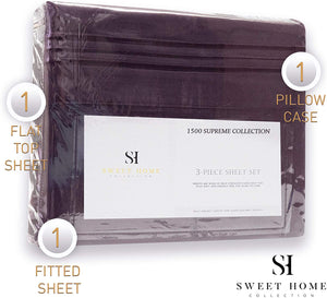 1500 Supreme Collection Extra Soft Twin Sheets Set, Purple - Luxury Bed Sheets Set with Deep Pocket Wrinkle Free Hypoallergenic Bedding, Over 40 Colors, Twin Size, Purple