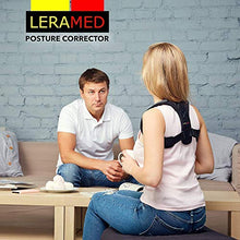 "Load image into Gallery viewer, Leramed [New 2020] Posture Corrector for Men and Women - Adjustable Upper Back Brace for Clavicle Support and Providing Pain Relief from Neck, Back and Shoulder (Chest Size 25"" - 50"") WRQ1402HM Black"