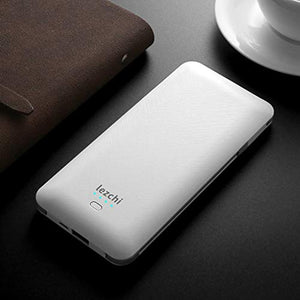 LEZCHI Portable Power Bank, Ultra Slim 10000mAh Portable Charger, USB C External Battery Pack with Built-in AC Plug, Charging Cable, Output Port, Compatible with Android, iPhone and Other Cellphones PB147AC 6.3*0.6*3 IN White