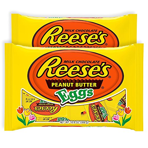 Reese's Hershey Reeses Peanut Butter Milk Chocolate | Easter Egg Hunt Candy & Easter Basket Stuffers | Individually Wrapped Spring Treat Gift | Pack of 2