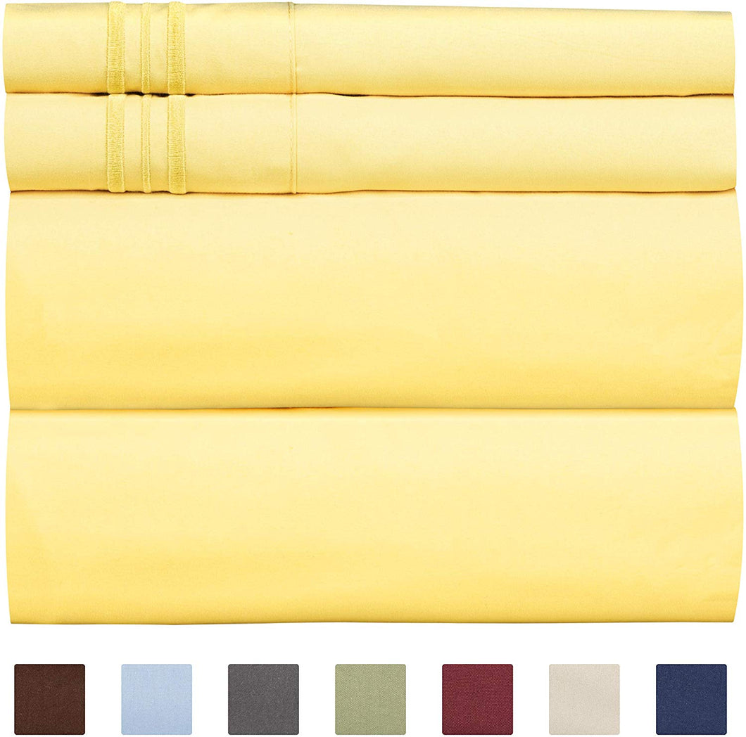 CGK Unlimited Split King Size Sheet Set – 5 Piece - Hotel Luxury Bed - Extra Soft - Deep Pockets - Breathable & Cooling - Wrinkle Free - Comfy – Yellow Sheets - Split Kings Sheets Yellow 5PC