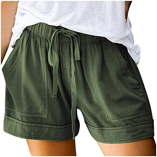 Handyulong Shorts Shorts for Women, Handyulong Casual Shorts Plain Solid Color Elastic Waist Drawstring Pockets Beach Short Lounge Pants Army Green Small