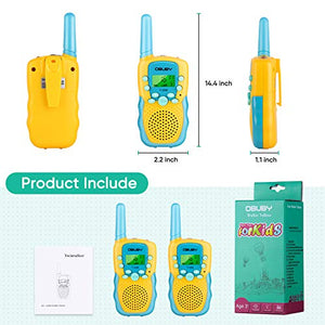 Obuby Walkie Talkies for Kids, 22 Channels 2 Way Radio Kid Toy Gift 3 KMs Long Range with Backlit LCD Flashlight Best Gifts Toys Yellow & Blue