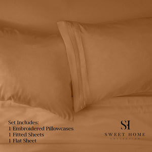 1500 Supreme Collection Bed Sheets - PREMIUM QUALITY BED SHEET SET & LOWEST PRICE, SINCE 2012 - Deep Pocket Wrinkle Free Hypoallergenic Bedding - Over 40+ Colors & Prints - 3 Piece, Twin, Mocha