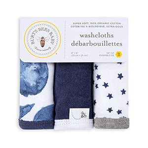 Burt's Bees Baby - Washcloths, Absorbent Knit Terry, Super Soft 100% Organic Cotton (Hello Moon!, 3-Pack) LY26963-IND-OS-H Pack of 3