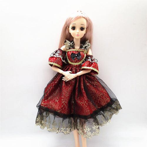 1Piece 60cm Bjd Doll Accessories Clothes Dolls Princess Dress Noble Party Gown Wedding Dress Fashion Design Outfit Doll's Gifts