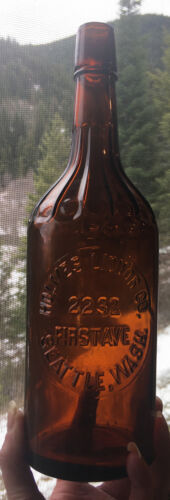 Rare Seattle, Wash. Holmes Liquor Co. Embossed Quart Whiskey Bottle
