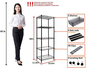 YOHKOH 5-Wire Shelving Metal Storage Rack Adjustable Shelves for Laundry Bathroom Kitchen Pantry Closet, Black
