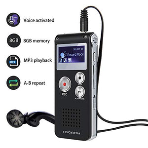 Voice Recorder TOOBOM R01 Digital Voice Activated Recorder - Sound Audio Dictaphone Double Sensitive Microphone Metal Body A-B Repeat Mini Lecture Recorder