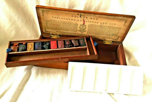 Antique CHARLES ROBERSON & Co. Watercolor ARTIST BOX with 10 Paint Blocks.1820s
