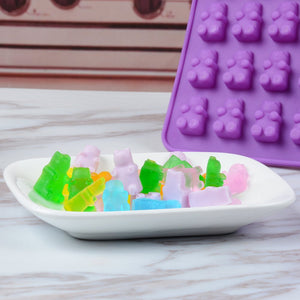 Gummy Bear Candy Molds Silicone - Chocolate Gummy Molds with 2 Droppers Nonstick Food Grade Silicone Pack of 4