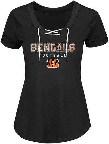 NFL Women's Cincinnati Bengals Short Sleeve V-Neck Synthetic Lace Up Tee - Small
