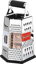 Load image into Gallery viewer, Utopia Kitchen Cheese Grater for Kitchen Stainless Steel 6-Sides - Easy to Use and Non-Slip Base UK0081 Silver